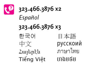 Metro LEP information graphic including phone numbers (323-466-3876, ext 2) in various languages.