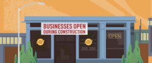 """Storefront with 'Businesses Open During Construction"""" sign out front."""
