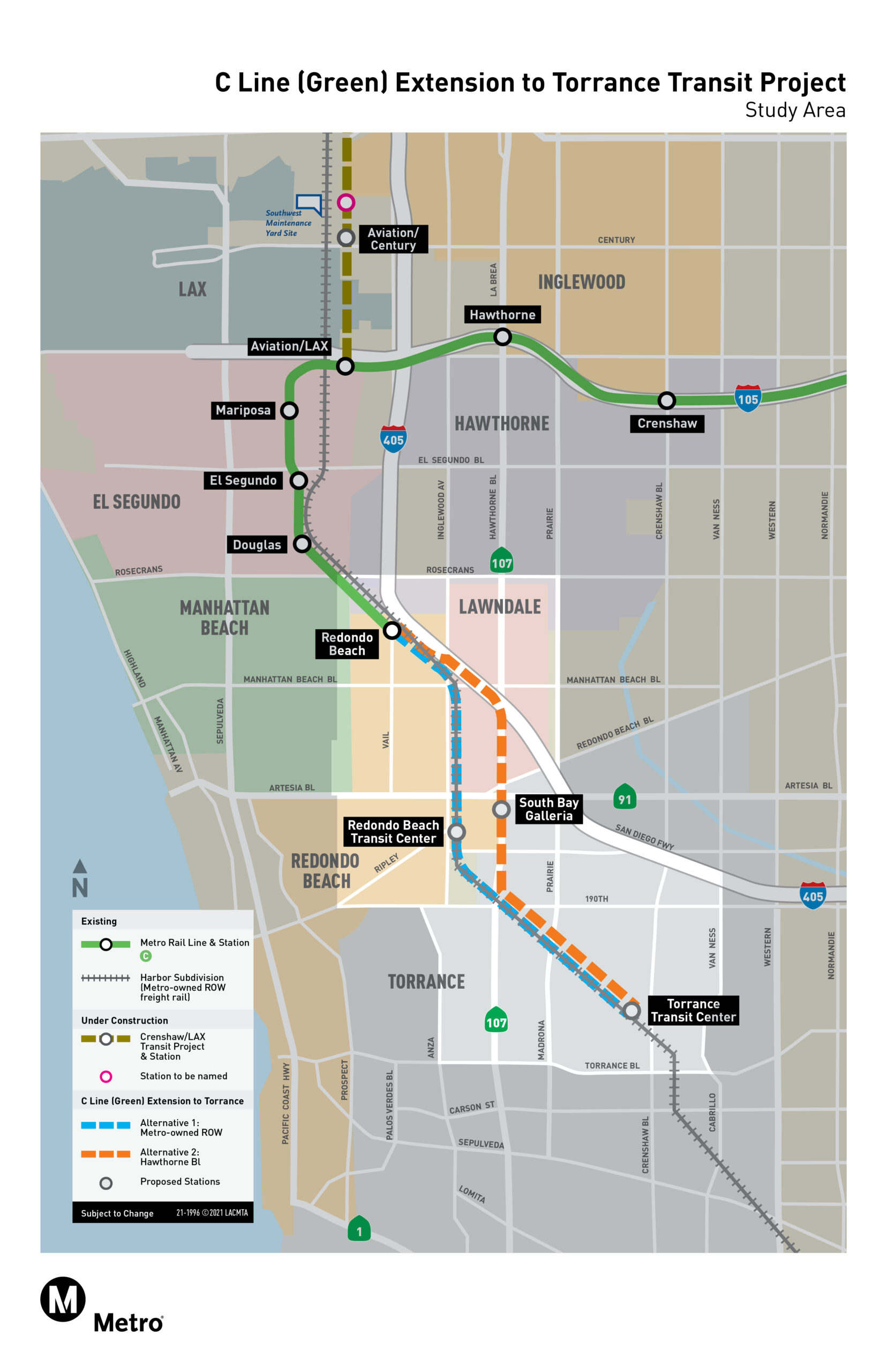 C Line (Green) Extension to Torrance Project Map
