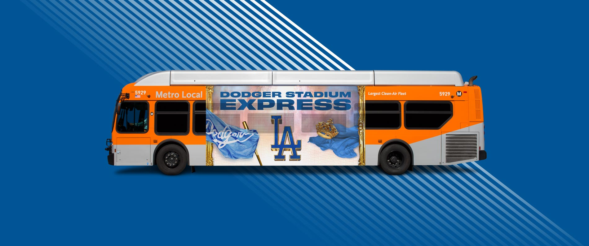 Side view of Dodger Stadium Express bus.