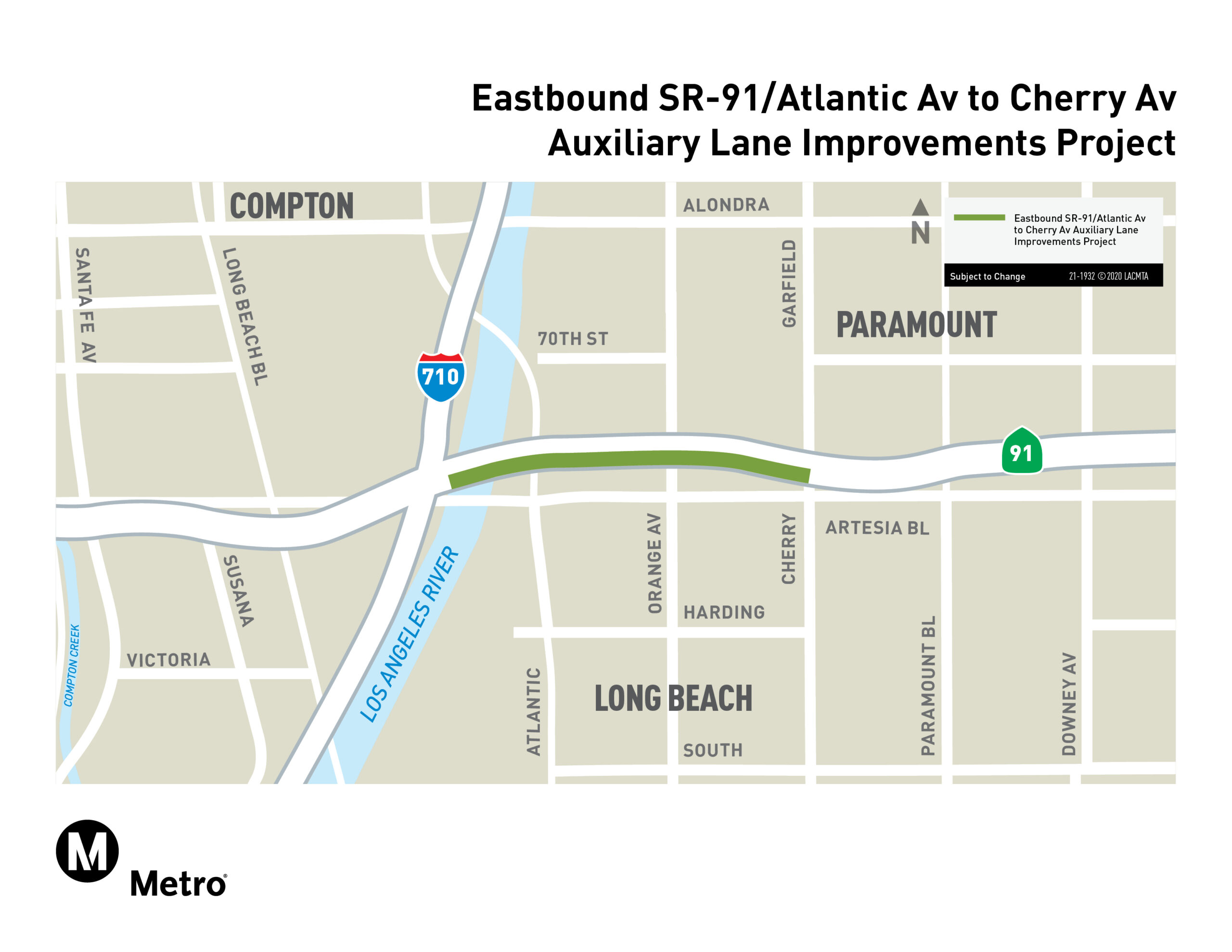 Eastbound SR-91 Atlantic Avenue to Cherry Avenue Auxiliary Lane Improvements Project Map