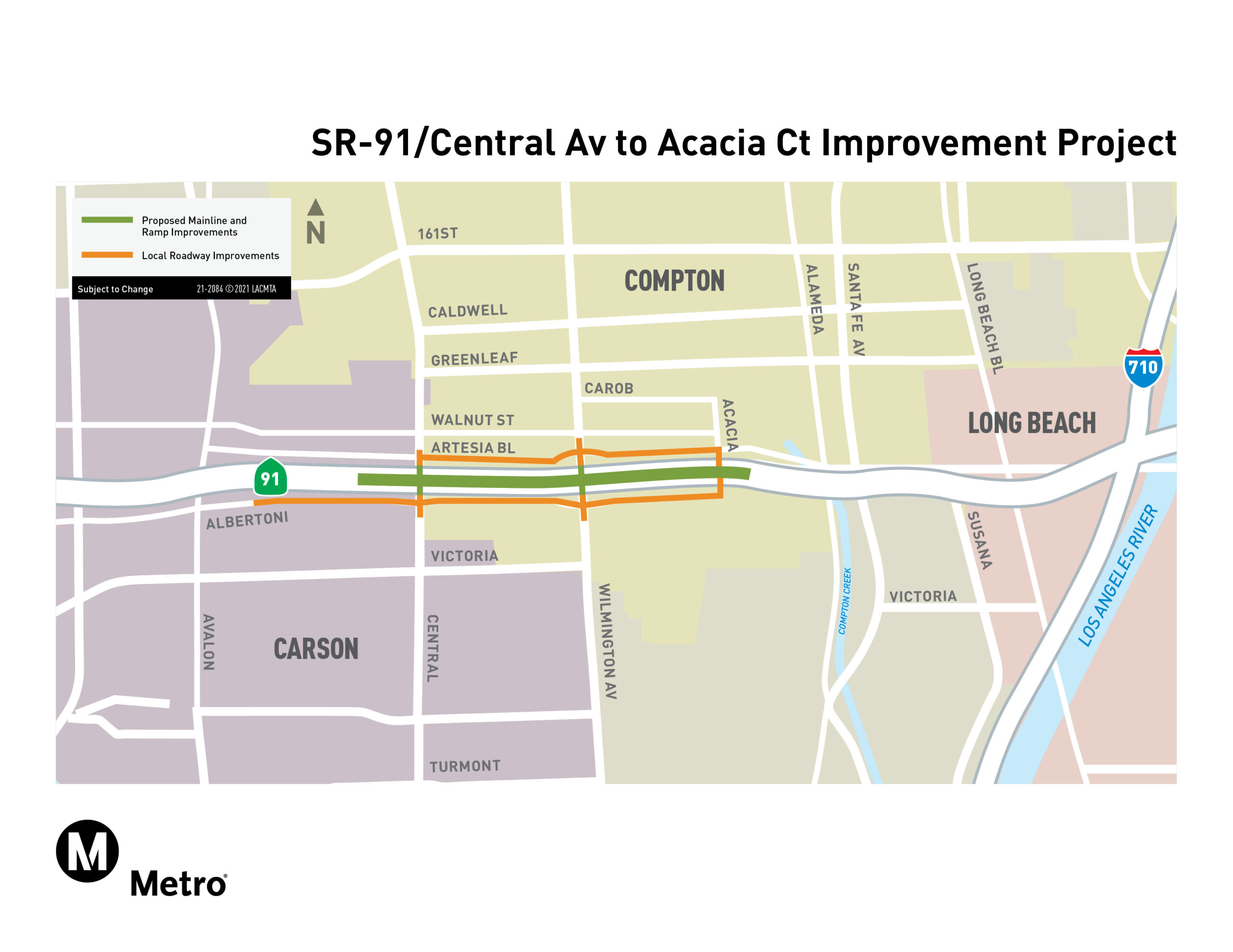 SR-91 Central Avenue to Acacia Court Project Map