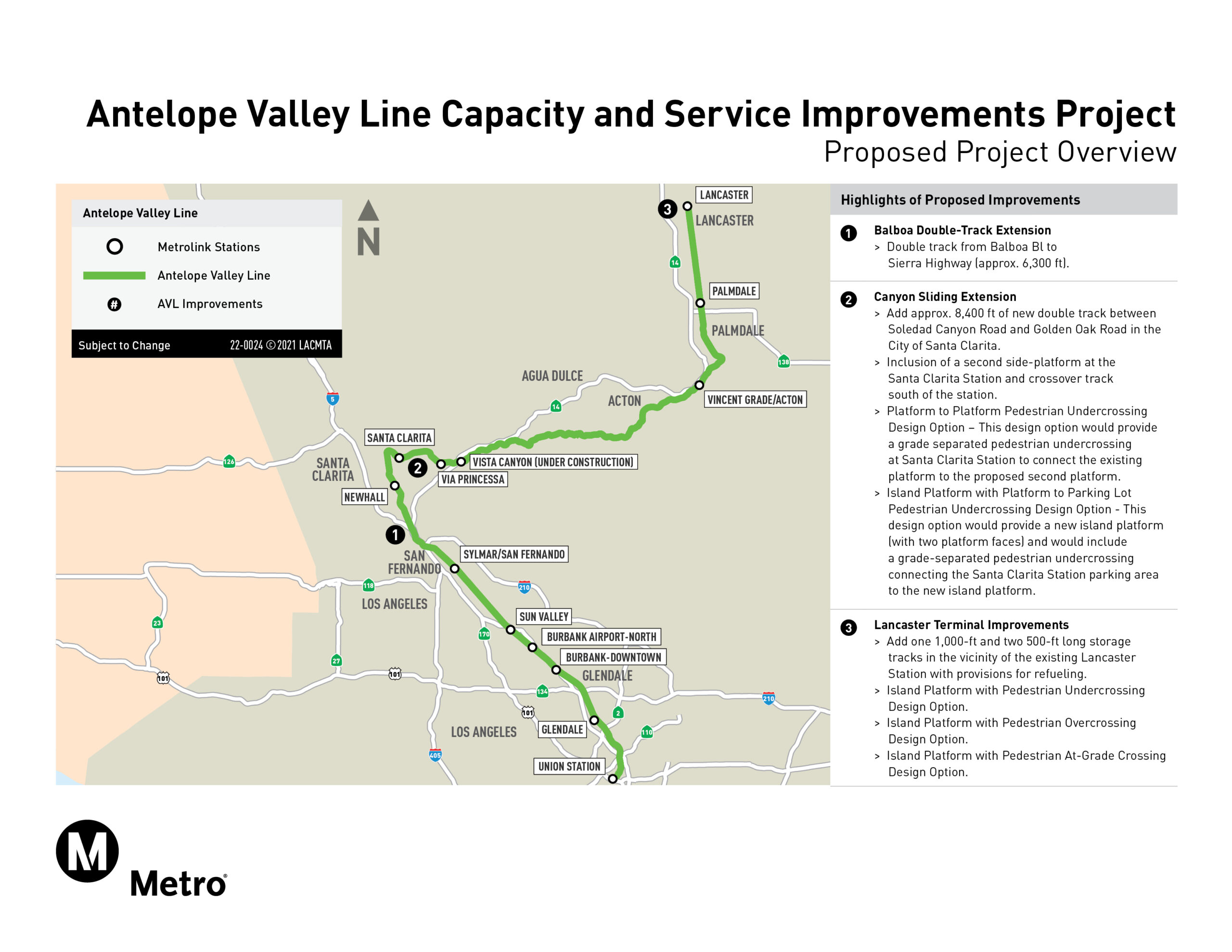 Antelope Valley Line Capacity and Service Improvements Program Project Map