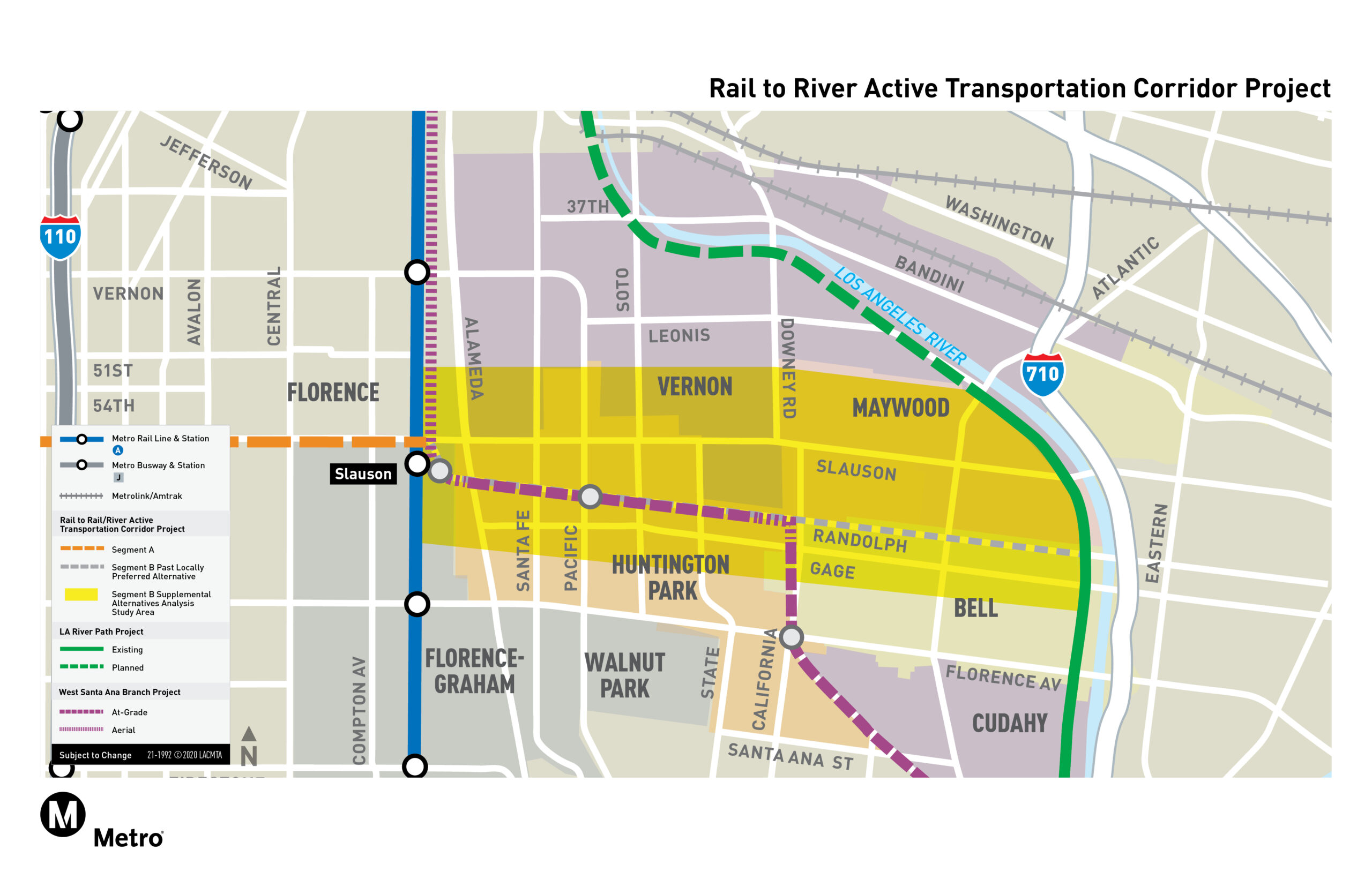 Rail to River Active Transportation Corridor Project Map