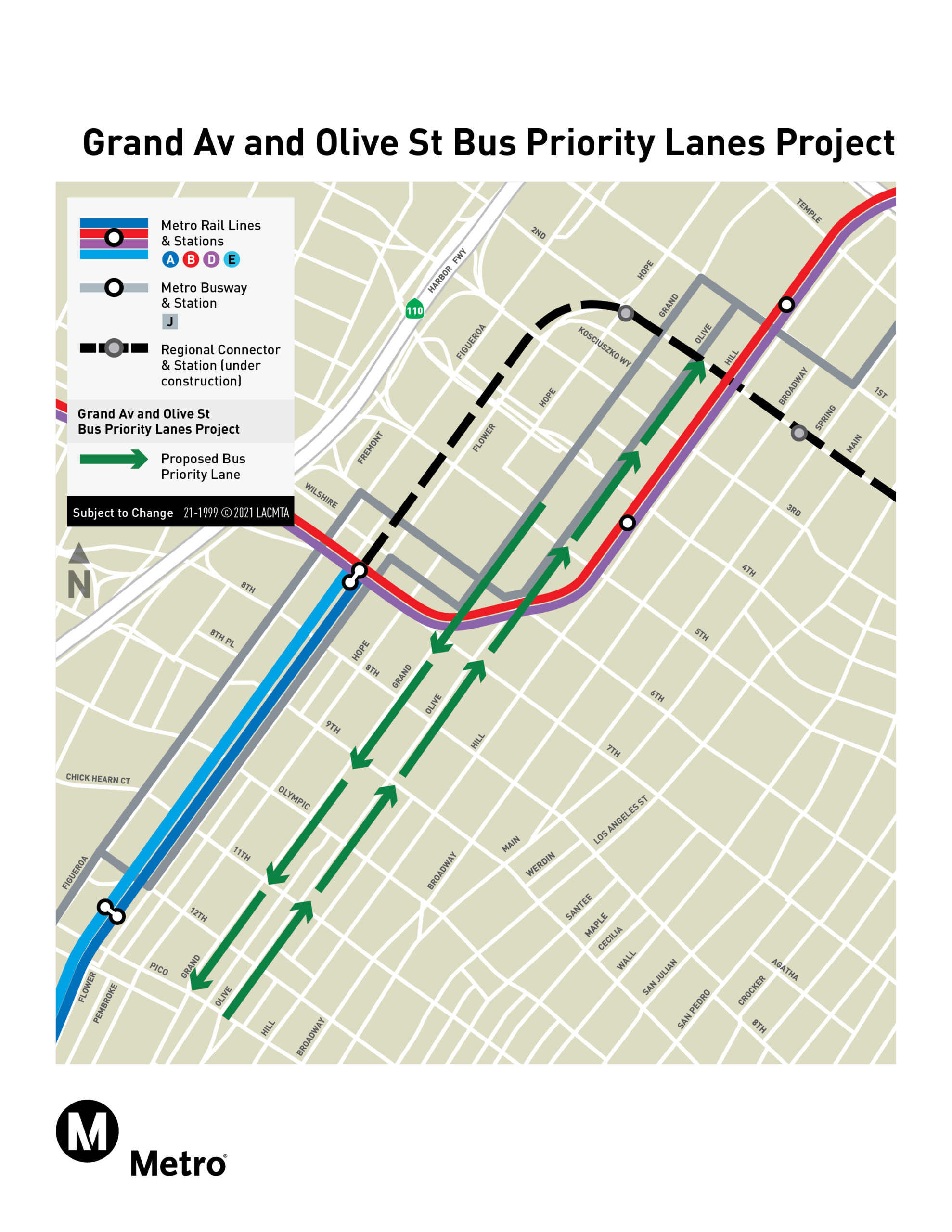Grand Av and Olive St Bus Priority Lanes Project Map