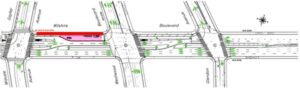 Part of Stage 1- Wilshire Blvd Between Gayley Avenue and Westwood Avenue Map